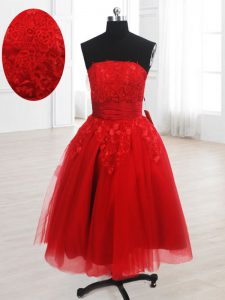 Red Organza Lace Up Strapless Sleeveless Knee Length Club Wear Embroidery