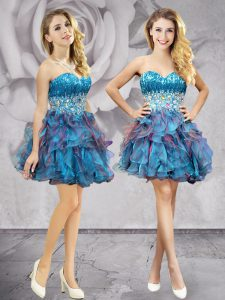 Sleeveless Mini Length Beading and Ruffles Lace Up Club Wear with Multi-color