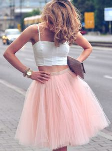 Best A-line Cocktail Dress Pink And White Spaghetti Straps Tulle Sleeveless Mini Length Zipper