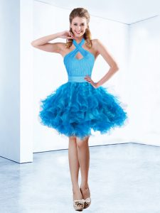 Colorful Baby Blue Organza Zipper Halter Top Sleeveless Mini Length Cocktail Dresses Ruching and Belt