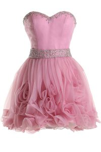 Pink Sweetheart Zipper Beading Club Wear Sleeveless