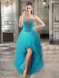 Elegant Tulle Sweetheart Sleeveless Lace Up Beading and Ruffles Cocktail Dresses in Teal