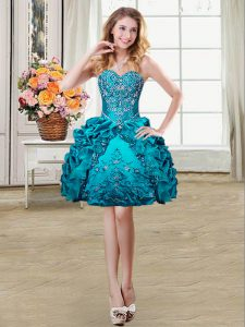 Fitting Pick Ups Sweetheart Sleeveless Lace Up Cocktail Dresses Teal Organza and Taffeta