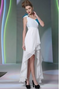 Chiffon Asymmetric Sleeveless Side Zipper Ruffled Layers and Sequins and Hand Made Flower Club Wear in White