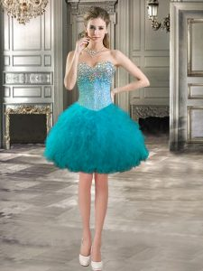 Fabulous Teal Sleeveless Mini Length Beading and Ruffles Lace Up Celebrity Prom Dress