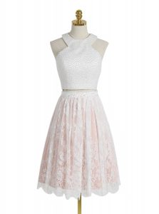 Shining Halter Top Lace Sleeveless Knee Length Cocktail Dress and Beading