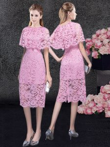 Adorable Pink Scoop Zipper Lace Cocktail Dresses Half Sleeves