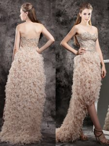 Fashionable Champagne Empire Tulle Sweetheart Sleeveless Appliques and Ruffles High Low Zipper Club Wear