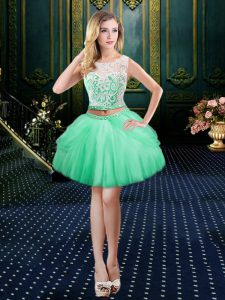 Apple Green Club Wear Prom and Party with Lace Scoop Sleeveless Clasp Handle