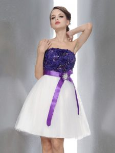 White And Purple Sleeveless Chiffon Zipper Cocktail Dresses for Prom and Party