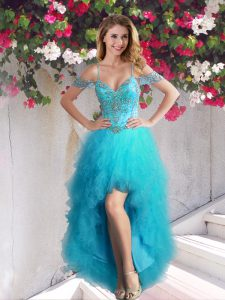 Beauteous Off The Shoulder Sleeveless Lace Up Cocktail Dress Teal Tulle