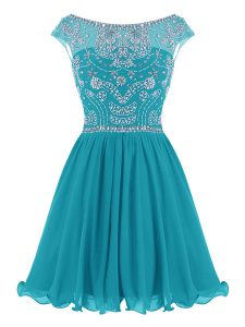 Scoop Mini Length Zipper Cocktail Dresses Teal for Prom and Party with Beading