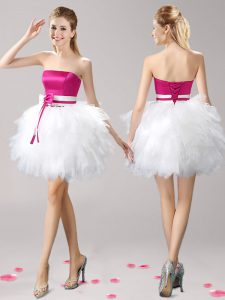 Mini Length Pink And White Club Wear Tulle Sleeveless Ruffles and Bowknot