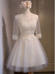 Super A-line Cocktail Dresses White Scoop Organza Half Sleeves Mini Length Lace Up