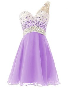 Luxurious One Shoulder Lavender Sleeveless Chiffon Criss Cross Cocktail Dresses for Prom and Party