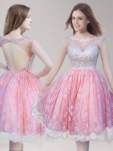 Lace Pink And White Club Wear Prom and Party with Beading Scoop Sleeveless Backless