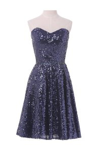 Stylish Navy Blue Sequined Lace Up Sweetheart Sleeveless Knee Length Cocktail Dresses Sequins