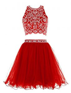 Pretty Scoop Red Sleeveless Chiffon Clasp Handle Cocktail Dresses for Prom and Party
