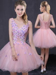 Pink Club Wear Prom and Party with Hand Made Flower V-neck Sleeveless Lace Up