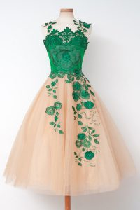 Delicate Scalloped Multi-color Sleeveless Tulle Zipper Cocktail Dresses for Prom and Party
