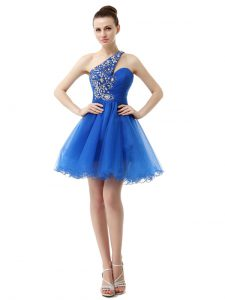 Glorious One Shoulder Knee Length A-line Sleeveless Royal Blue Cocktail Dress Criss Cross