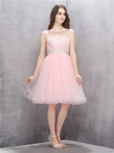 Pink Zipper Scoop Beading and Appliques Club Wear Organza Sleeveless