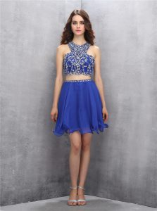 Clearance Scoop Royal Blue Criss Cross Cocktail Dresses Beading Sleeveless Knee Length
