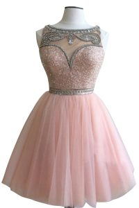 Exceptional Pink Side Zipper Bateau Beading Club Wear Tulle Sleeveless