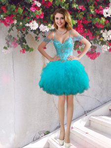Fabulous Off the Shoulder Teal Sleeveless Beading and Ruffles Mini Length Club Wear