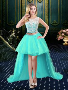 Dynamic A-line Cocktail Dress Aqua Blue Scoop Organza Sleeveless High Low Clasp Handle