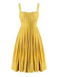 Excellent Pleated Knee Length A-line Sleeveless Yellow Club Wear Criss Cross