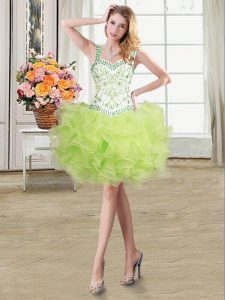 Inexpensive Straps Beading and Ruffles Cocktail Dresses Yellow Green Lace Up Sleeveless Floor Length