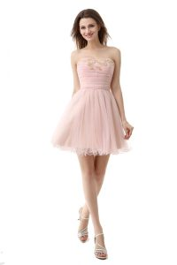 Charming Pink Zipper Sweetheart Beading and Ruching Cocktail Dresses Organza Sleeveless