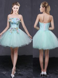Flare Organza Strapless Sleeveless Lace Up Hand Made Flower Cocktail Dress in Apple Green