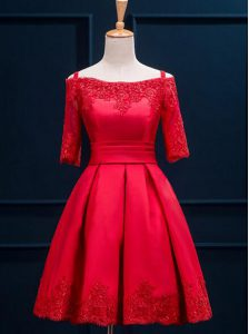 Excellent Pleated A-line Cocktail Dress Red Off The Shoulder Satin Half Sleeves Mini Length Lace Up