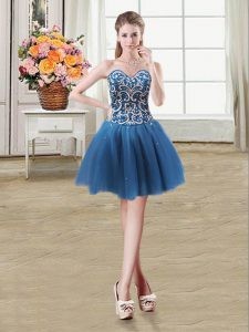 Teal Tulle Lace Up Sweetheart Sleeveless Mini Length Cocktail Dresses Beading and Sequins