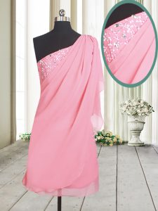 Noble One Shoulder Chiffon Sleeveless Cocktail Dresses and Beading