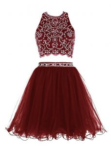 Scoop Burgundy Sleeveless Chiffon Clasp Handle Cocktail Dresses for Prom and Party