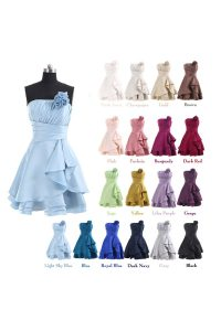 Customized Lavender Strapless Lace Up Pleated and Hand Made Flower Club Wear Sleeveless