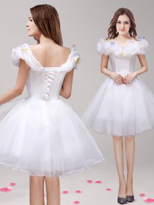 Off the Shoulder White Sleeveless Tulle Lace Up Cocktail Dress for Prom and Party