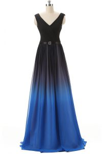 Ideal Blue And Black Lace Up V-neck Beading Cocktail Dresses Chiffon Sleeveless Brush Train