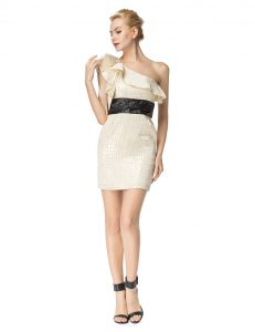 One Shoulder Mini Length Champagne Cocktail Dresses Printed Sleeveless Ruching
