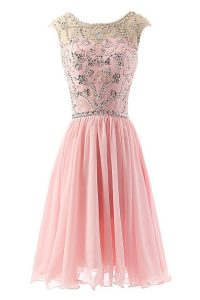 Graceful Scoop Pink Sleeveless Chiffon Zipper Cocktail Dresses for Prom and Party