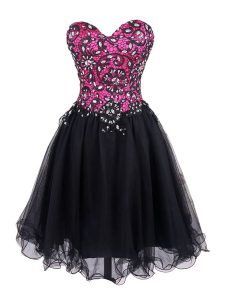 Sleeveless Tulle Mini Length Zipper Cocktail Dresses in Pink And Black with Beading and Lace