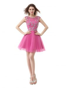 Eye-catching Scoop Rose Pink Column/Sheath Beading and Sequins and Pleated Cocktail Dresses Zipper Chiffon Cap Sleeves Mini Length