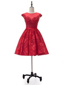 Deluxe Sweetheart Sleeveless Cocktail Dress Mini Length Beading and Appliques Red Lace
