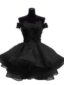 Spectacular Mini Length Black Cocktail Dress Organza Sleeveless Beading and Lace and Appliques and Ruffles