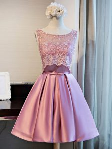 Lace and Appliques and Belt Cocktail Dress Lilac Lace Up Sleeveless Mini Length