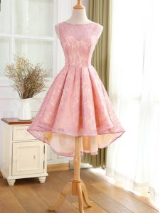 Decent High Low Backless Cocktail Dresses Pink for Prom and Military Ball and Sweet 16 with Lace and Appliques