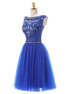 Modern Royal Blue Zipper Scoop Beading Cocktail Dresses Tulle Sleeveless
